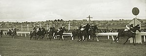 Moonee Valley Gold Cup - Nightly winning the 1934 Moonee Valley Cup. Jockey: Maurice McCarten