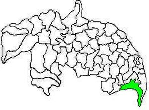 Nizampatnam mandal - Mandal map of Guntur district showing   Nizampatnam mandal (in green)