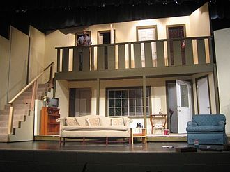 Theatrical scenery - Modern-day rotating set for the play Noises Off.