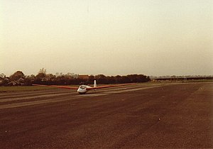 RAF Rufforth - A glider on the north end of the runway at Rufforth in 1982