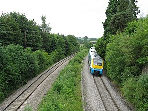 Welsh Marches - A Class 175 'Coradia' running through currently closed Dinmore railway station, Herefordshire on the Welsh Marches Line on an Arriva Trains Wales service.
