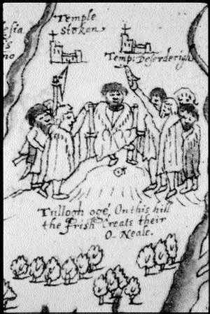 "Tullyhogue Fort - Detail of a copy of Richard Bartlett's 1602 map of Ulster that included this depiction of an O'Neill inauguration on Tullyhogue. A figure on the right, an O'Cahan, can be seen holding a shoe over the chief's head as part of the ""single shoe"" ritual"