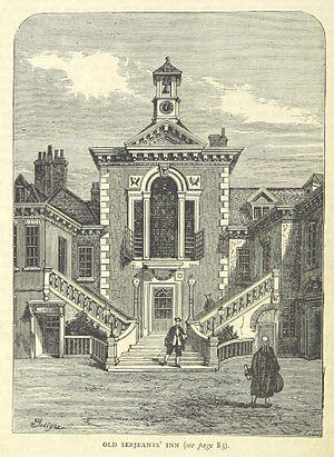 Edward Bromley - Serjeant's Inn as it appeared in the early 19th century. It was destroyed in World War II.