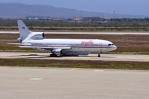 OSCs Lockheed L-1011 N140SC taxi at Vandenberg AFB for its flight to Kwajalein.jpg