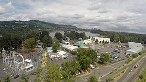 Oaks Amusement Park - Aerial view of Oaks Amusement Park, showing the attractions