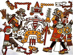 Eight Deer Jaguar Claw - Eight Deer Jaguar Claw (right) Meeting with Four Jaguar, in a depiction from the Codex Zouche-Nuttall. His name glyph (a deer head and eight red dots) is above his head.