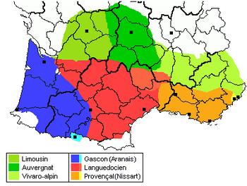 Mapa de las variedades occitanas habladas en Occitania (los nombres aclaratorios no están en occitano sino en francés).