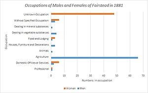 The occupations of both males and females in Fairstead, Essex in 1881 as reported by the 1881 Census of England and Wales