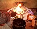 Offerings of food and light at Shivaratri in a Himachal Pradesh village.jpg