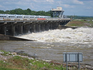 Old River Control Structure - Old River Control Structure discharging water into the Atchafalaya, May 2011