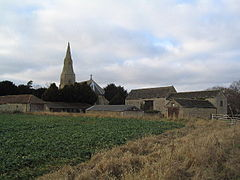 Old farm buildings and church of St Margaret, Braceborough - geograph.org.uk - 115178.jpg