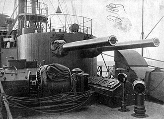 152 mm 45 caliber Pattern 1892 - Twin gun turret aboard the cruiser Oleg