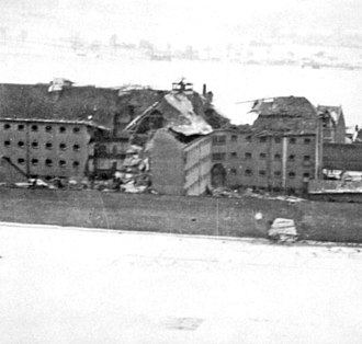 Operation Jericho - Damage included a hole in the perimeter wall (right-of-centre).