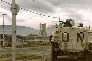 """U2 concert in Sarajevo - """"Sniper Alley"""", pictured in 1995. During U2's Zoo TV Tour, Carter had to cross this area nightly to broadcast a satellite video feed from Sarajevo to the band."""