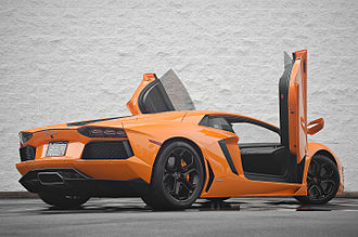 Lamborghini Aventador - Lamborghini Aventador with its signature scissor doors up