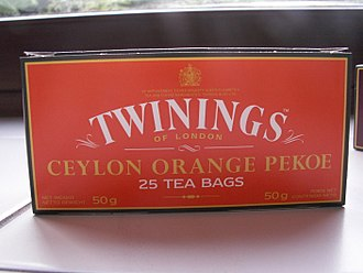 Royal Warrant of Appointment (United Kingdom) - Twinings Of London is one of the many well-known suppliers granted a Royal warrant. Pictured: Twinings' Orange Pekoe Tea with details of a Royal Warrant included on packaging