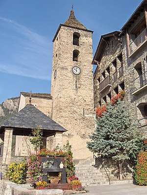 Ordino - The 12th century Romanesque Sant Corneli and Sant Cebrià church and bell tower in Ordino.