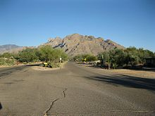 Mountains rise in the background of a photo from a residential area in Oro Valley.