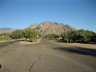 Oro Valley, Arizona - Spectacular view is east toward Pusch Ridge from Calle Concordia.