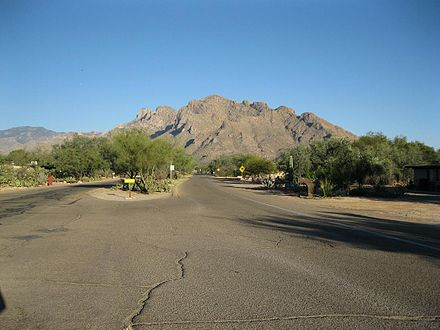View towards Pusch Ridge from Calle Concordia. Oro Valley Calle Concordia.JPG