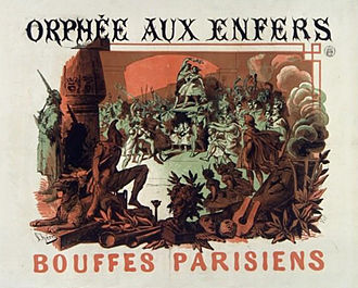 Brightly-coloured theatre poster, depicting another party in Hades