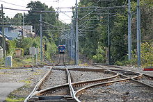 Looking down railway tracks in a forestry area, with a blue tram far down the line