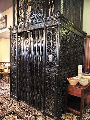 1856 in Scotland - Otis elevator in Glasgow, imported from the U.S. in 1856 for Gardner's Warehouse, the oldest cast-iron fronted building in the British Isles