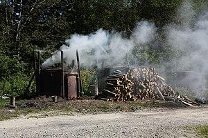 Charcoal burner - Charcoal burning in modern iron retorts, Otryt, Poland