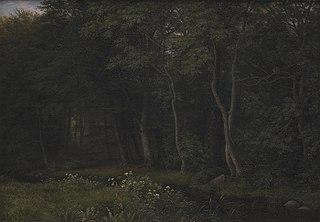 Twilight Setting in a Wood near Iselingen Manor, Zealand