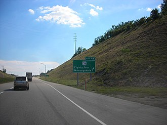 Mon–Fayette Expressway - PA 136 exit sign