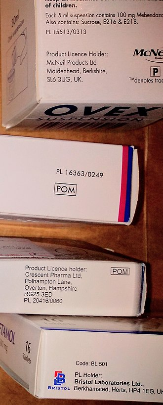 Prescription drug - Photo of the packaging of four medicines registered in the UK, showing their Product Licence Numbers and symbols denoting if they are Prescription Only Medicine (POM) or Pharmacy Medicine (P)
