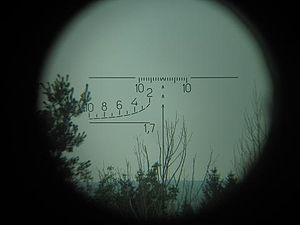 PSO-1 - The PSO-1 pattern range-finding reticle. The bottom-left corner can be used to determine the distance from a 170 cm tall target