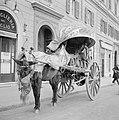 Paard voor een kar met een beweegbare kap, geladen met houten wijnvaatjes, Bestanddeelnr 254-5542.jpg