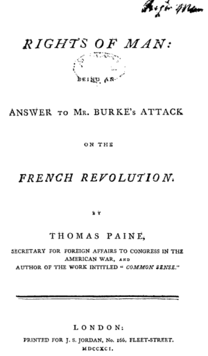 Revolution Controversy - Title page from the first edition of Thomas Paine's Rights of Man