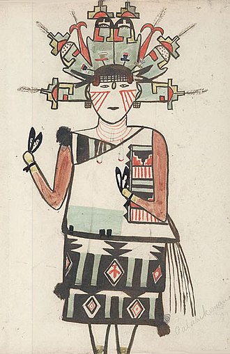Kachina - Palahiko Mana, Water-Drinking Maiden, Hopi 1899.  She wears a headdress with stepped Earth signs and corn ears. Water Drinking Woman seems to be a name for the corn itself, one of many forms of the Corn Maidens.