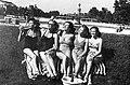 Palatinus Strandfürdő. Balról-jobbra- Nagykovácsi Ilona, Simor Erzsi, Somló Vali, Egry Mária, Lengyel Irén színésznők. Fortepan 10493.jpg