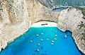 Panagiotis Shipwreck at Navagio Beach Zakynthos Greece aerial (44653575600).jpg
