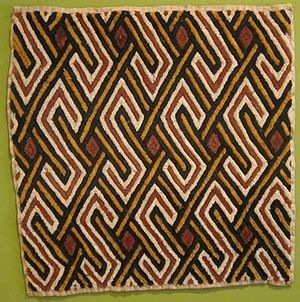 African textiles - Kuba Raffia cloth, made by the Kuba of present-day Democratic Republic of Congo