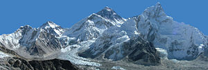 1975 British Mount Everest Southwest Face expedition - Image: Panoramique mont Everest