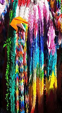 Paper cranes hanging outside of the Children's Peace Monument.jpg