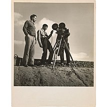 Film director Pare Lorentz and cinematographer Paul Ivano filming outside of Bakersfield, California, in October 1935