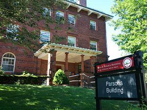 Mount Auburn Hospital - Mount Auburn Hospital's first building, the Parsons Building, built 1886