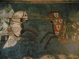 Battle of Campaldino - Image: Particolare degli afreschi del palazzo Comunale di San Gimignano 1292