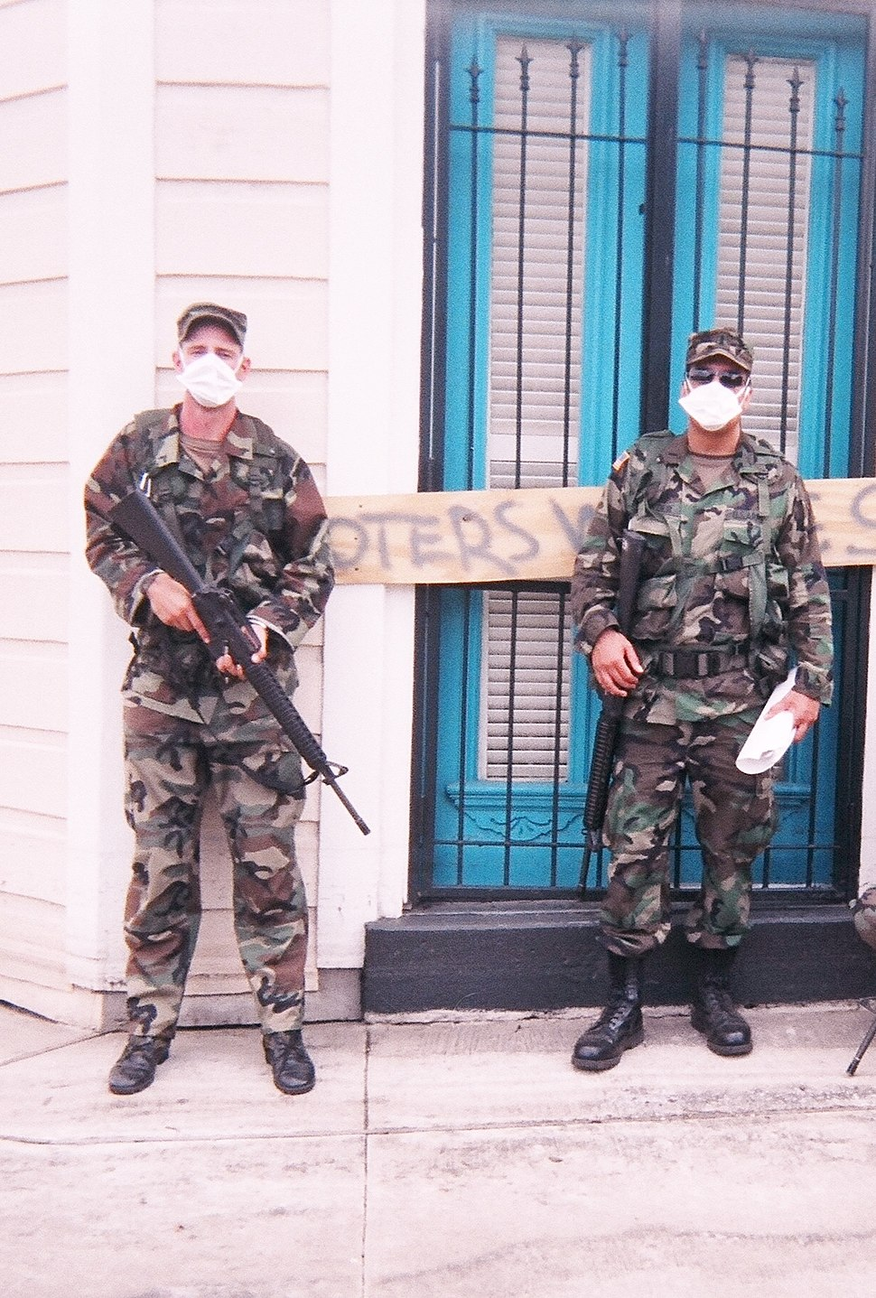 Patrolling an area that was previously underwater in New Orleans September 2005