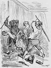 Illustration by Gustave Doré for Baron Münchhausen: tall tales, such as those of the Baron, often feature unreliable narrators.
