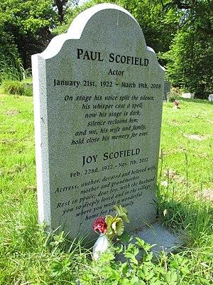 Paul Scofield - Paul and Joy Scofield's gravestone in St Mary's churchyard, Balcombe, West Sussex
