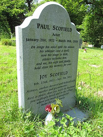Paul Scofield - Paul and Joy Scofield's gravestone in St Mary's churchyard, Balcombe, West Sussex