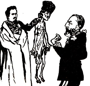 George Ranetti - Anonymous cartoon in Protestarea (1906): an emaciated peasant, held up by Alexander John Cuza for Carol I to acknowledge