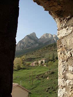 Pedraforca from the belfry of Saldes