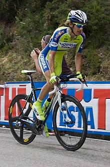 Franco Pellizotti al Giro d'Italia 2009 con i colori della Liquigas.